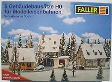 FALLER - 5 Gebäudebausätze - Winter im Dorf - Häuser Set - Spur H0 - NEU&OVP