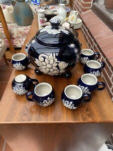Bowle set wick werke Blau Keramik Wunderschön