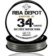 RBA Depot Kanthal A1 Wire 34 Gauge AWG 100ft ROLL 0.16mm 21.1 ohms/ft Resistance