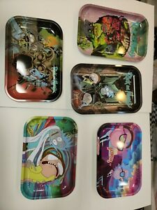 """Lot of 10 Rolling Tray assorted rick and morty design all different 11""""×7"""""""