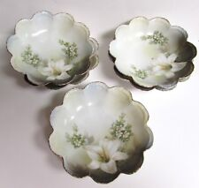 5 VINTAGE RS GERMANY BERRY BOWLS WH LILY GOLD TRIM SCALLOPED RIM GREEN BACKSTAMP