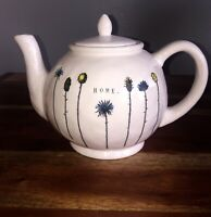 RAE DUNN 2018 Home Teapot Flowers Floral Spring TYPEWRITER VHTF VERY DIMPLY VHTF
