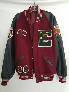 Vintage Wool Varsity Bomber Jacket Maroon