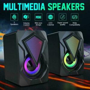 PC Surround Sound System LED Speakers Gaming Deep Bass Computer USB LED J9B0