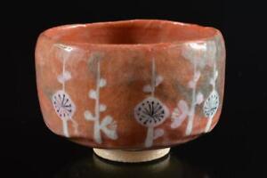 #4437: Japanese Raku-ware Red glaze TEA BOWL Green tea tool Tea Ceremony