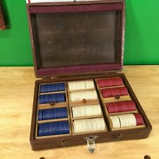 Vintage Poker Chips with case - 297 chips with 3 dovetailed racks