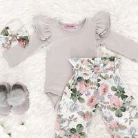 Newborn Baby Girls Floral 3pcs Clothes Jumpsuit Romper Bodysuit Pants Outfit Set