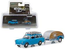 1961 VOLKSWAGEN TYPE 3 SQUAREBACK/ TEARDROP TRAILER BLUE 1/64 GREENLIGHT 32140 A