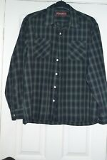 Men's Black / Blue & Green Check Long Sleeved Shirt Size L