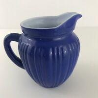 Vintage Royal Blue Ceramic Creamer Mini Pitcher Shabby Chic Country French