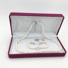 Classic Freshwater Pearl Gift Set with Necklace/Bracelet/Earrings/Gift box