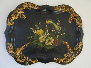 Vintage Folk Art Toleware Bird & Still Life Floral Tray Hand Painted Metal Inlay