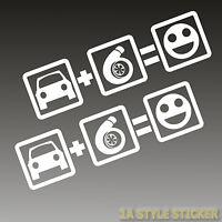 2x Auto + Turbo = Fun Aufkleber Turbo 20cm Sticker Tuning lader turbo boost wars