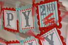Happy Birthday Vintage Red and Blue Stripe Airplane Aviator Pilot Theme Banner