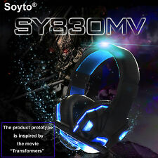 3.5mm Gaming Game Headset Stereo Surround USB Mic LED Headphone for PC Laptop