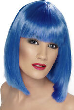 Glamour Parrucca da festa blu neon NUOVO - CARNEVALE PARRUCCA CAPELLI