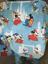 Mickey Mouse Disney Twin Flat Sheet Pluto Frontierland Castle Pirate Donald Duck