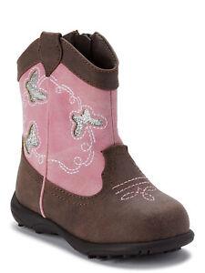 Wonder Nation Infant / Toddler Girls Brown Pink Glitter Cowboy Boots Shoes: 2-6