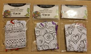 Zenspirations Gift Tags, 12 Pc, 3 Different Designs, Hearts,  Circles,  Abstract