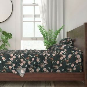 Spring Botanicals Floral Flowers 100% Cotton Sateen Sheet Set by Roostery