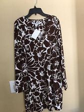 Diane Von Furstenberg Reina Leaf Dance Dahlia Chocolate Dress Size 4