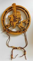 Hand Carved Wood Ceremonial Silhouette Pony Rider Dream Catcher Tribal Art