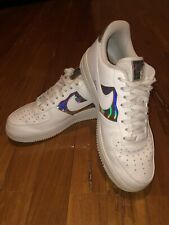 Nike Air Force 1 Low White Iridescent Women's Shoes CJ9704-100 Rare DS