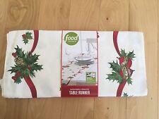 "Food Network Sleighbell Wreath Table Runner 17"" x 60"" Christmas REVERSIBLE NWT"