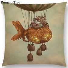 Steampunk Flying Biggles Cat balloon Cushion Cover Linen