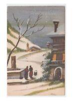 1942 Tarjeta Postal Antigua Feliz Cumpleaños Buon Navidad Paisaje Fuente Fontana