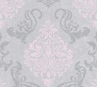 Vliestapete Barock Ornament Glitzer effekt grau rosa Vintage 95372-6