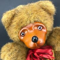 """Vtg 80s Applause Wood Face 9"""" Bear Robert Raikes Plush Stuffed Jointed Toy Brown"""