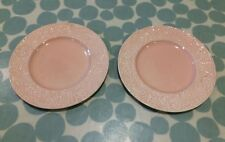 Vintage Clarice Cliff pink embossed pair of side plates - art deco