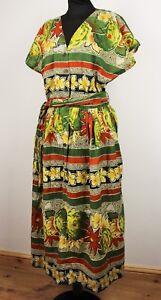 Vtg 80s 90s Bohemian Ditsy Floral HAWAIIAN print Button Down Midi Sun Dress M