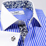 Mens Business Shirt 100% Egyptian Cotton Blue Contrast Collar French Cuff Luxury