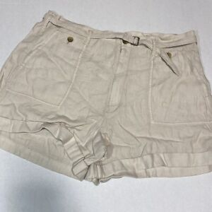 American Eagle Linen Blend Belted Shorts Beige Mid Rise Cuffed Size 20 NWT