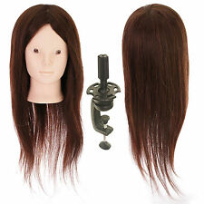 "Makeup 22"" 80% Human Hair Hairdressing Mannequin Practice Train Head Stand Clamp"