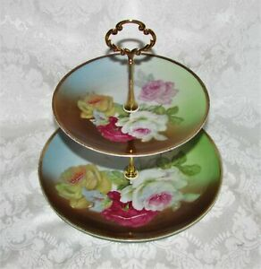 Custom Two Tier Cake Stand Made With Antique Plates