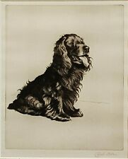 GENUINE PENCIL SIGNED CECIL ALDIN SPANIEL DOG ETCHING PERFECT WITH PROVENANCE