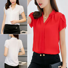 Summer Women's Loose Chiffon V-Neck Tops Short Sleeve Tee Shirt Casual Blouse BG