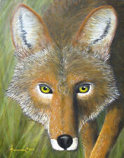 EYES OF THE COYOTE ORIGINAL SOUTHWESTERN OIL PAINTING ANIMALS SIGNED FREE FRAME