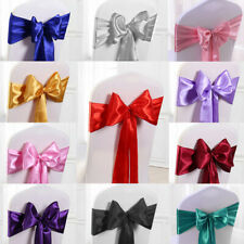 10/25/50/100pc Satin Chair Cover Sash Ribbon Bow Wedding Banquet Reception Decor