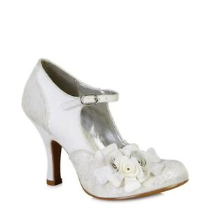 Ruby Shoo Emily Silver/white Vintage Flower Buckle High Heel Shoe Or London Bag