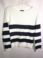 Tommy Hilfiger Womens Sweater White and Navy Blue Striped Size XS