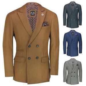 Men's Classic Double Breasted Blazer Smart Retro Peak Lapel Tailored Suit Jacket