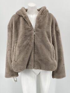 Zara Womens Faux Fur Hooded Jacket Coat XXL Gray Soft Cozy Full Zip Pockets