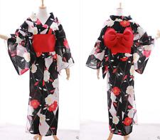 K-027 schwarz weiß rot Sakura Blumen Original Japan Kimono YUKATA OBI Gürtel