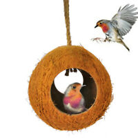 LD_ BL_ Coconut Shell Bird Hamster Nest House Pet Parrot Budgies Hanging Toy C