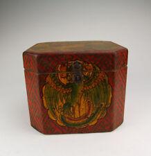 One Tibetan Wooden Casket Painted with traditional tibetan motif