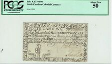 1779 $90 South Carolina Colonial Currency Lion Note Pcgs Certified 50 About New